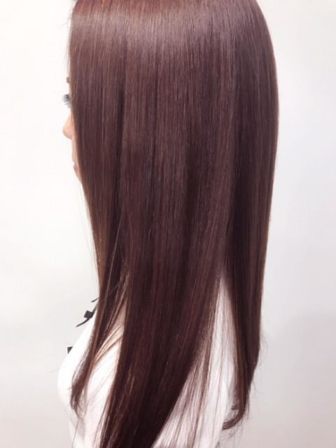 ダメージレス縮毛矯正×ピンクイルミナカラー