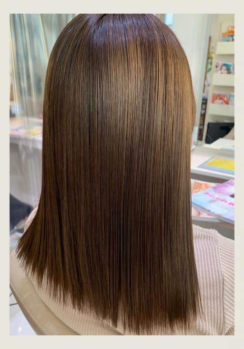 ダブルブリーチ毛に髪質改善縮毛矯正