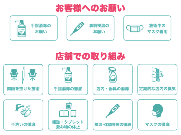 Ash二俣川南口店の新型コロナウィルス感染症対策への取り組み。