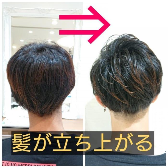 立ち上がらない髪にボリュームを出す。