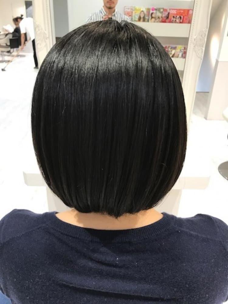 縮毛矯正でも自然な丸みのあるボブスタイル|サブ写真②