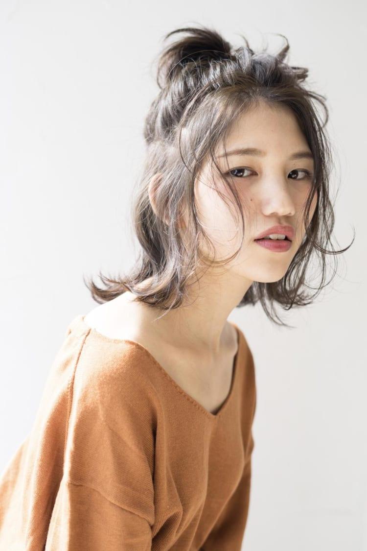 ざっくりお団子ハーフアップ|メイン写真