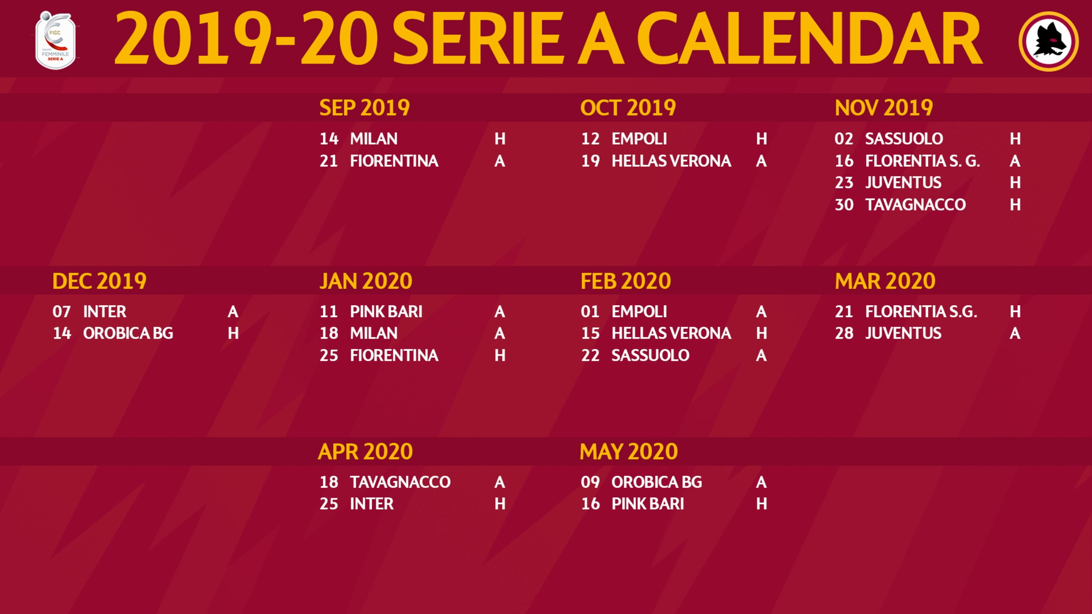 Serie A 2020 Calendario.Fixture List Set For Roma Women