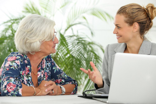 Senior woman seeking free legal advice