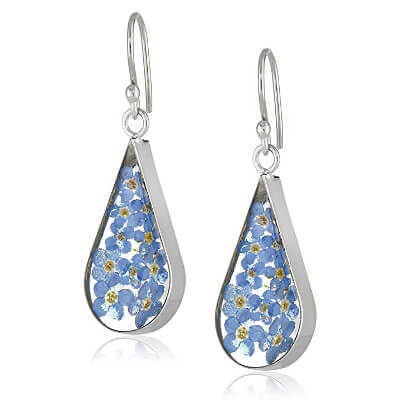 silver pressed flower earrings