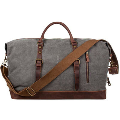 Canvas Men's Leather Travel Weekend Bag