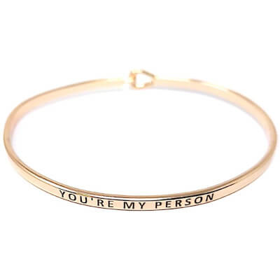 Inspirational Positive Message Engraved Cuff Bracelet