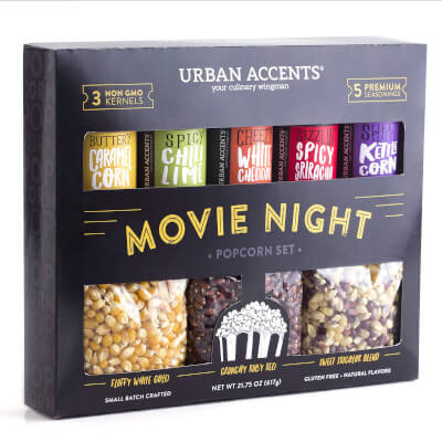 movie night popcorn gift set