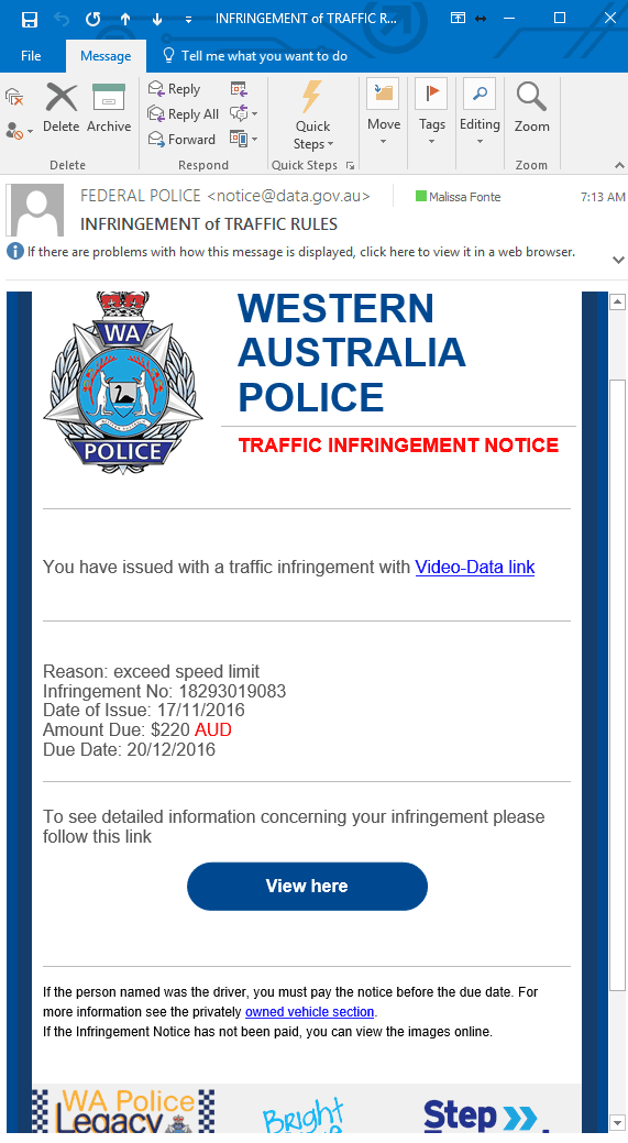 police scam warning