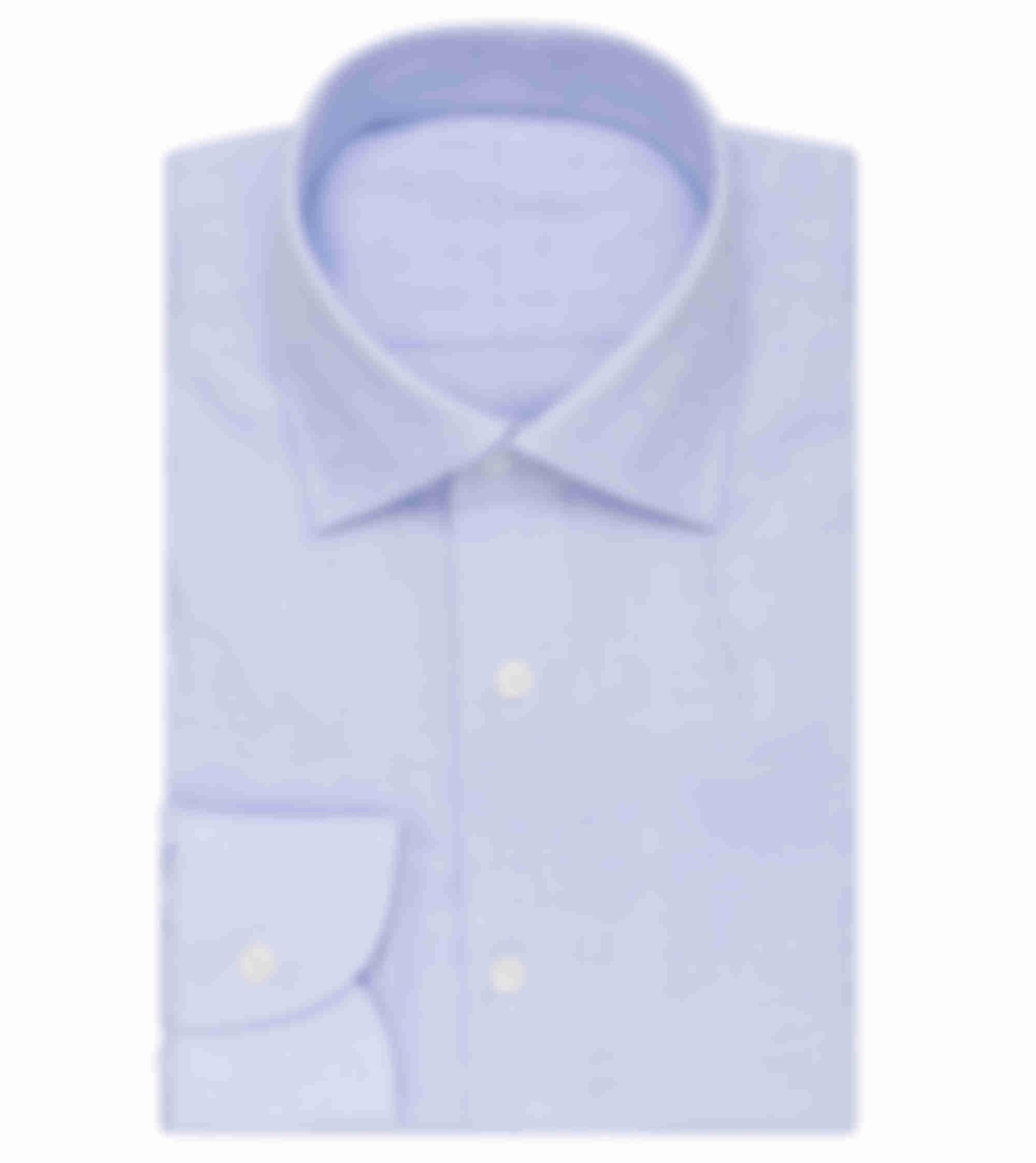 Chemise sur mesure en tissu Thomas Mason pinpoint bleu Atelier Mesure