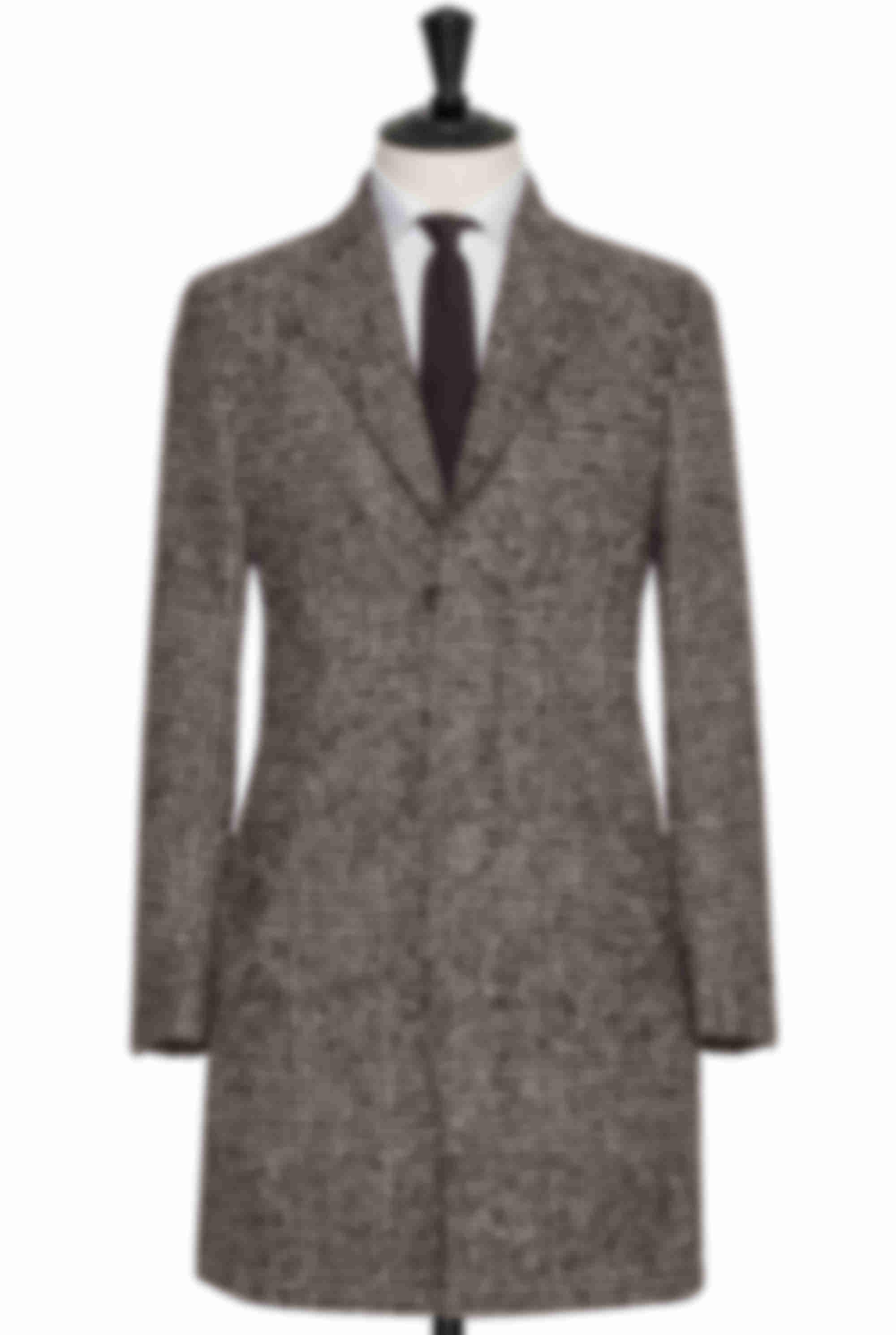 Manteau sur mesure boutons cachés marron carreaux Atelier Mesure