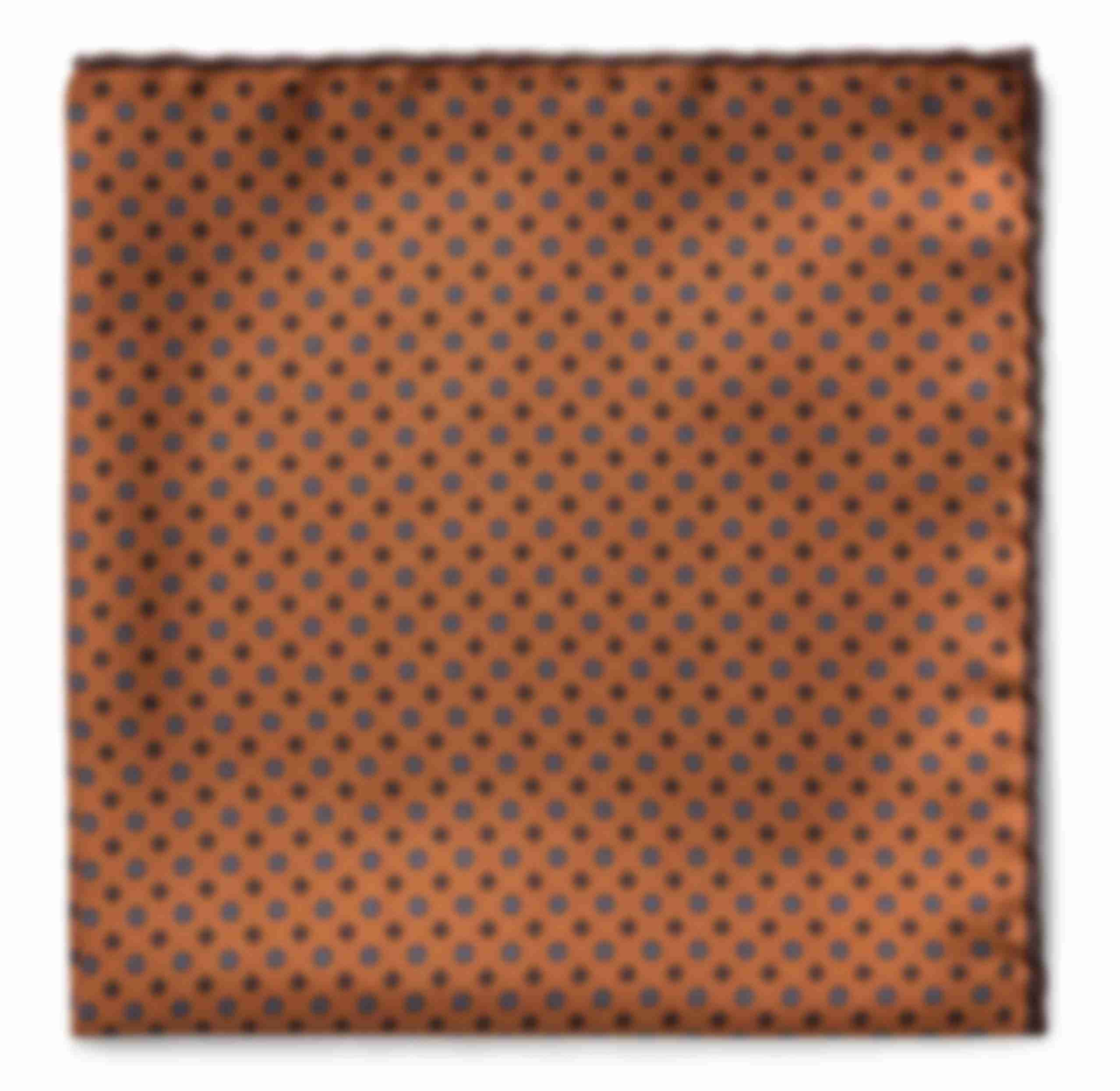Pochette sur mesure soie orange et pois roulottée main Atelier Mesure