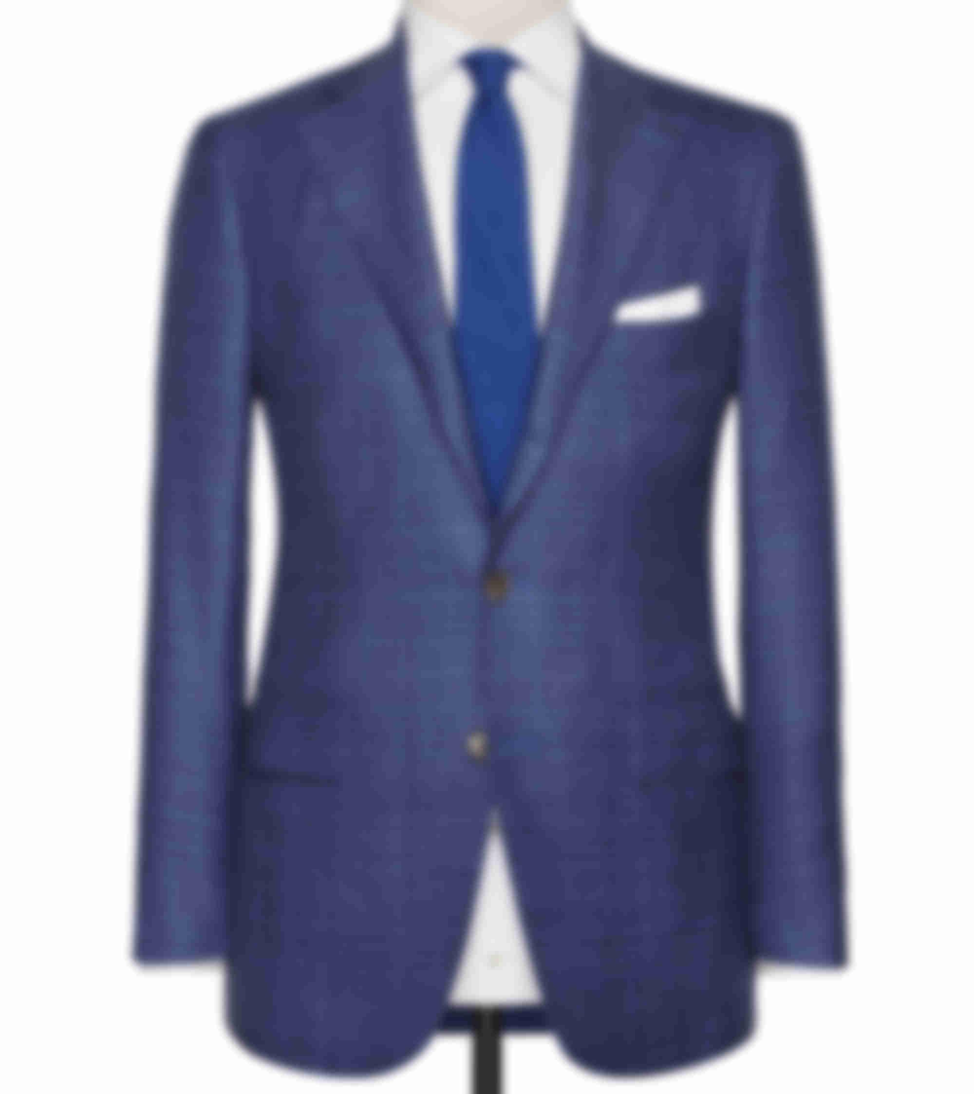 Veste casual tissu Loro Piana sur mesure carreaux bleu Atelier Mesure