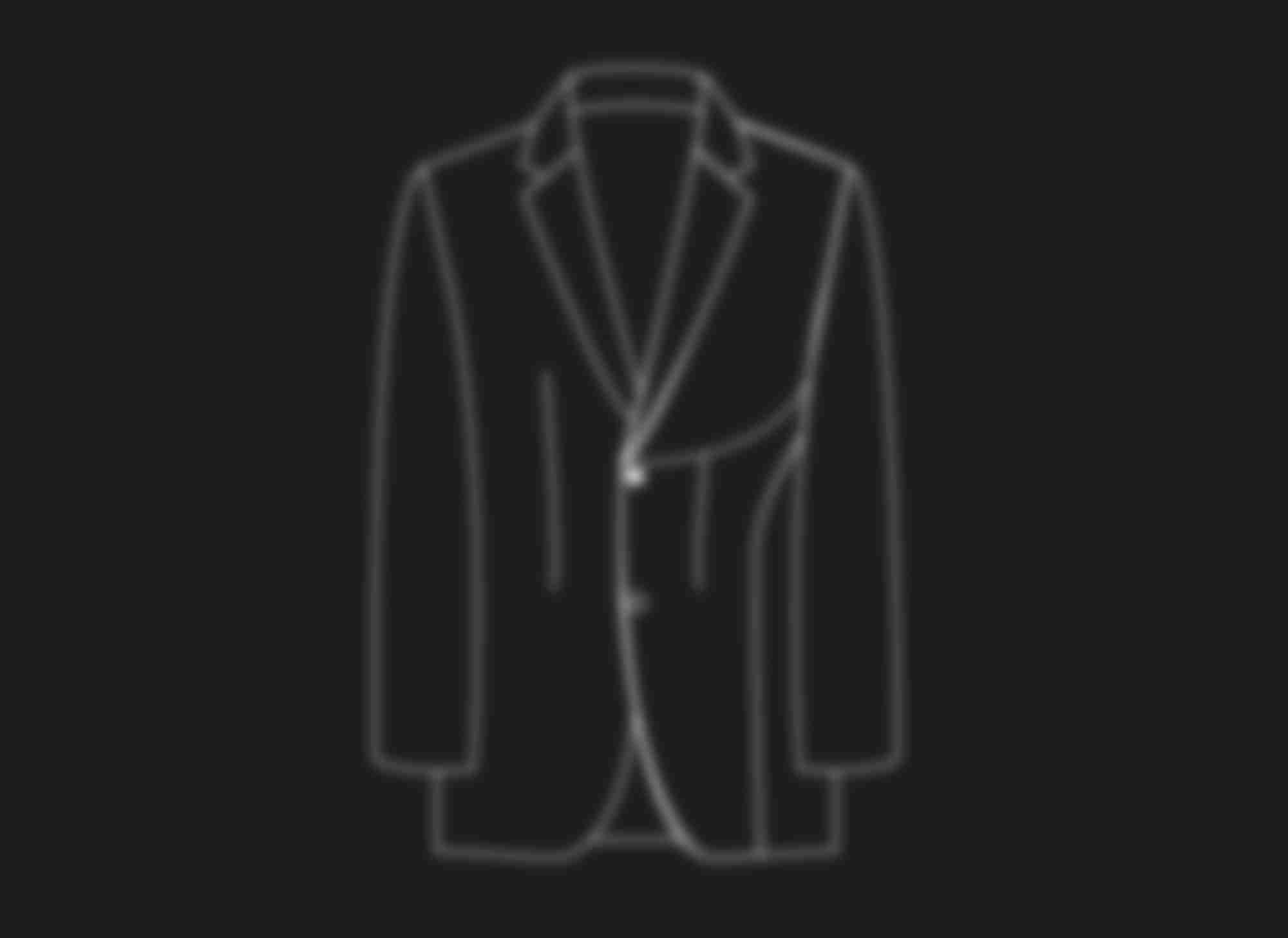 Schéma au trait illustrant la construction semi traditionnel des costumes et vestes sur-mesure Atelier Mesure