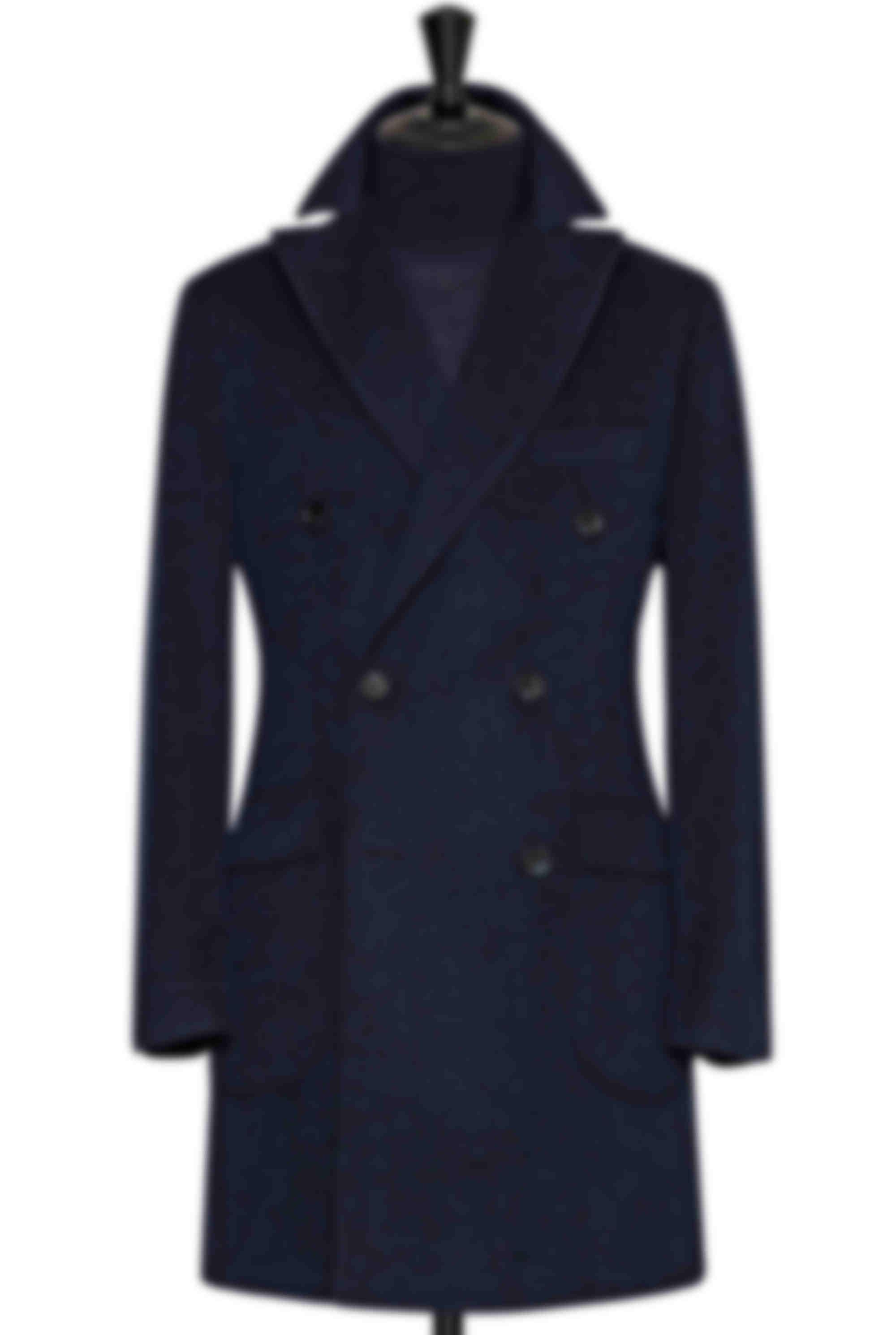 Manteau sur mesure Atelier mesure laine mélangée croisé bleu et noir