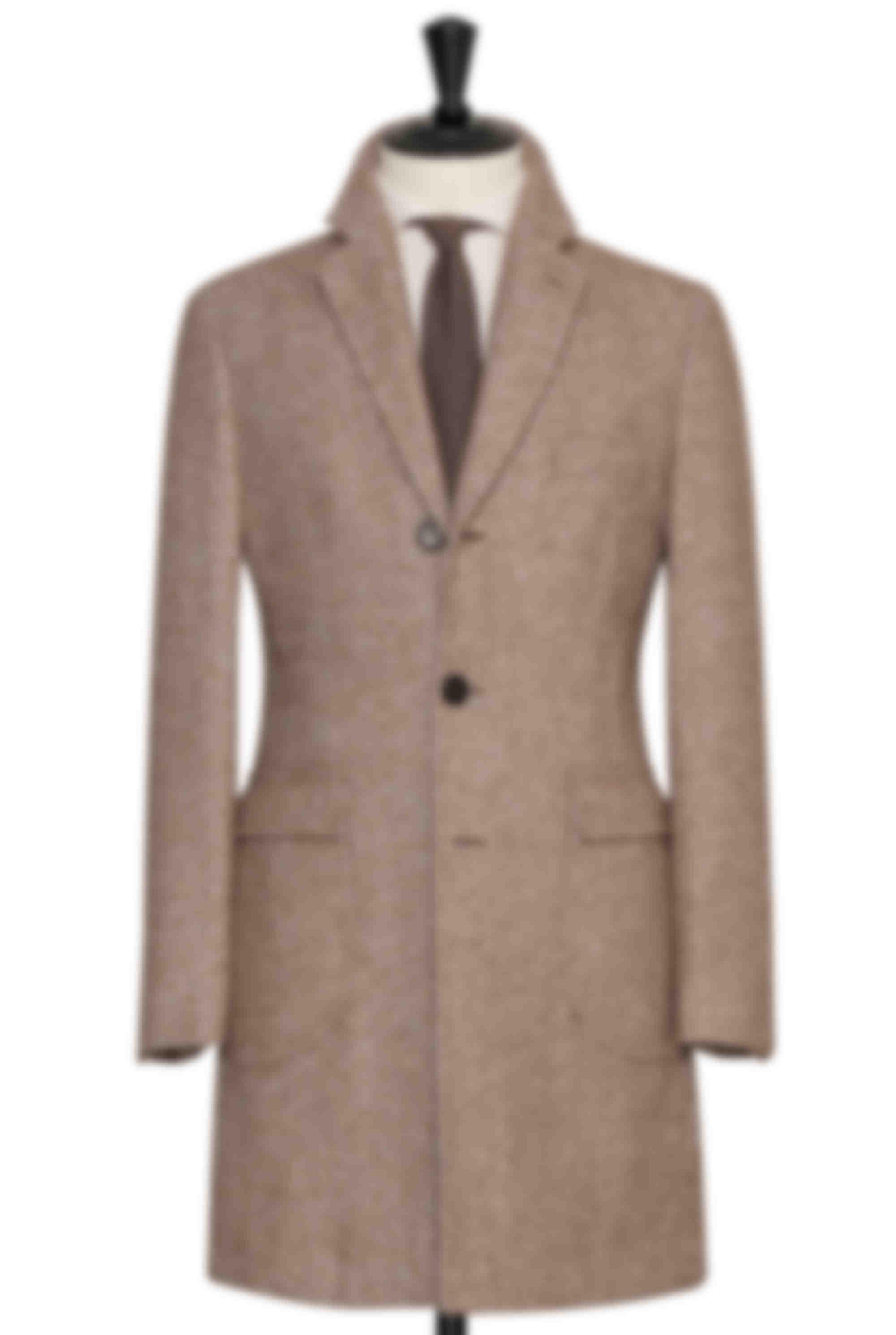 Manteau sur mesure droit chevrons marron clair poches plaquées Atelier Mesure