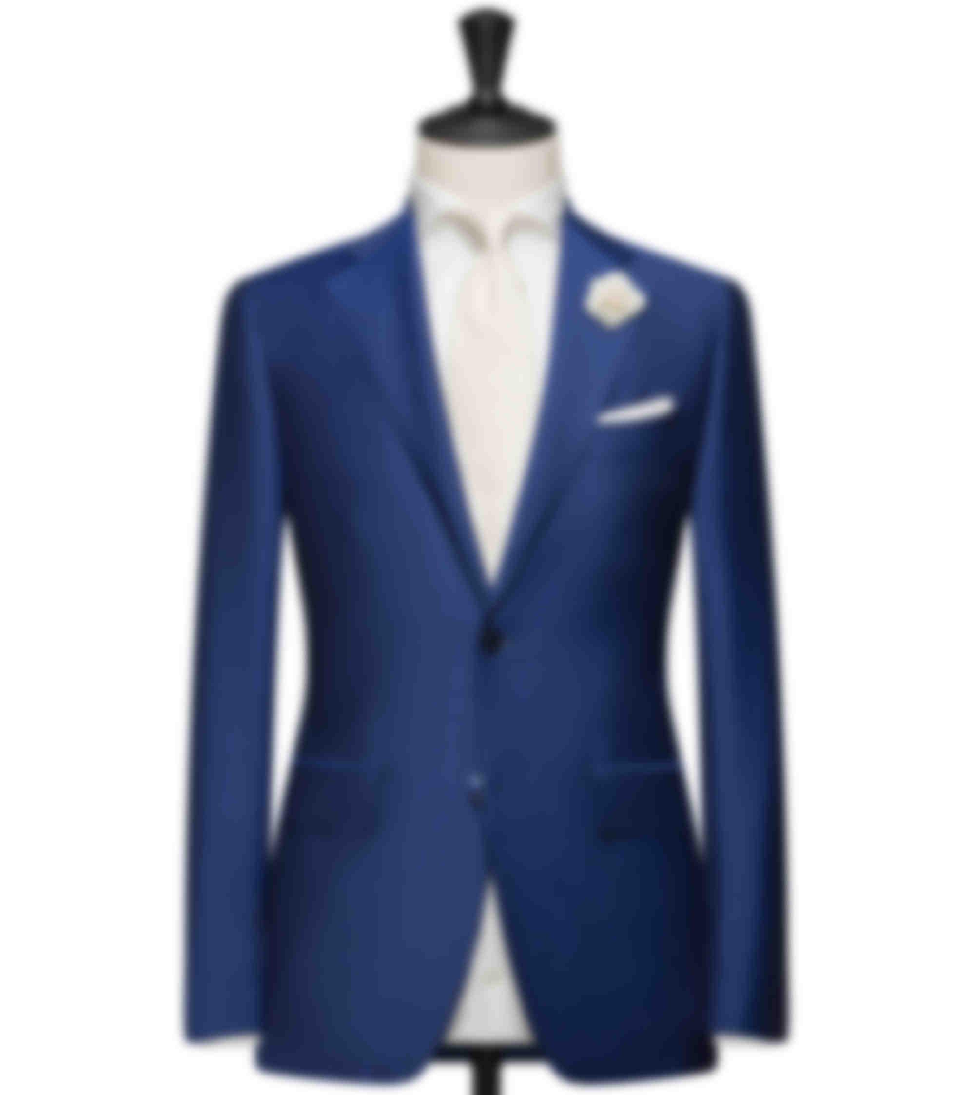 Costume de mariage sur mesure bleu vif avec fleur à la boutonnière