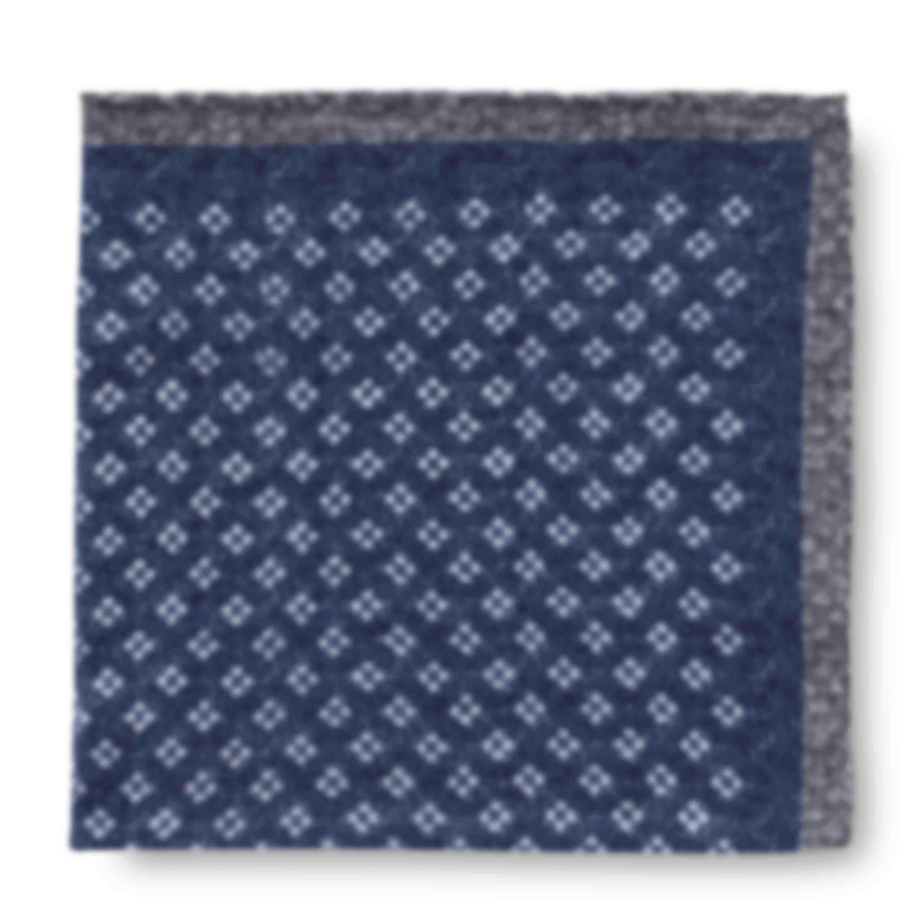 Pochette sur mesure cachemire motif bleu Atelier Mesure