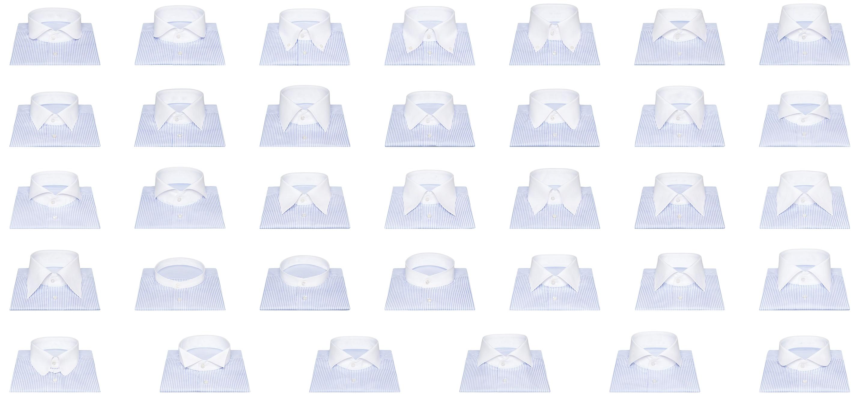 Présentation de tous les cols de chemises sur mesure disponible chez Atelier Mesure