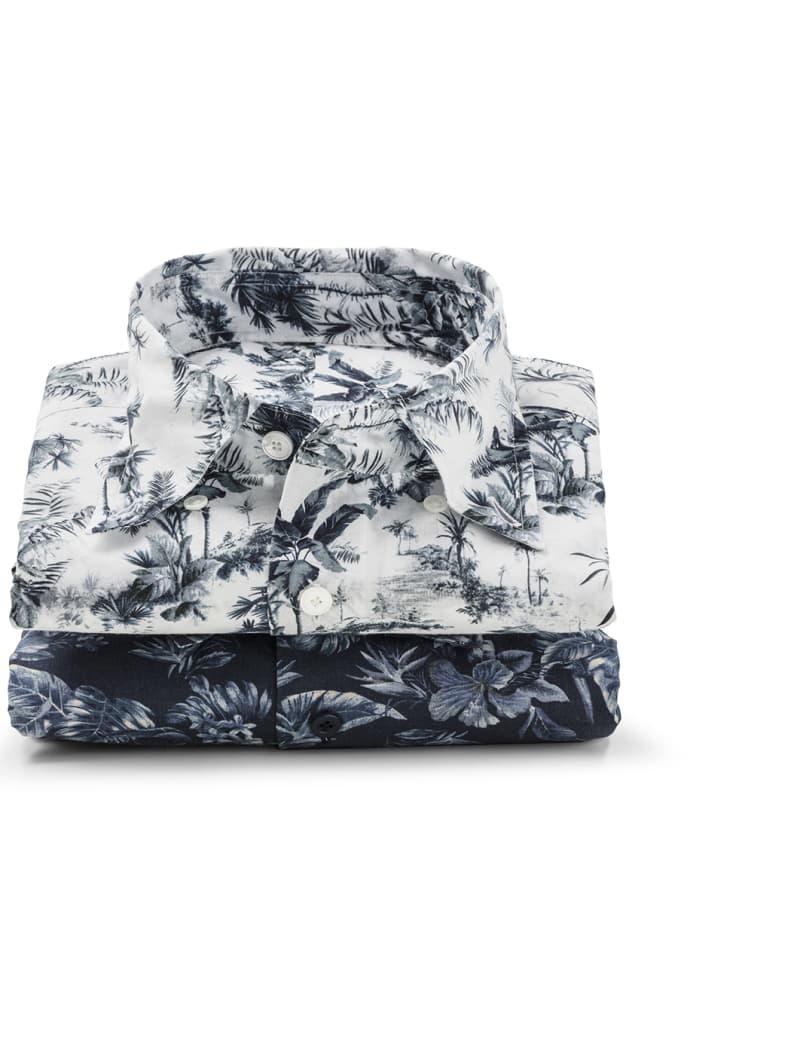 Pile de deux chemises casual imprimées sur mesure Atelier Mesure