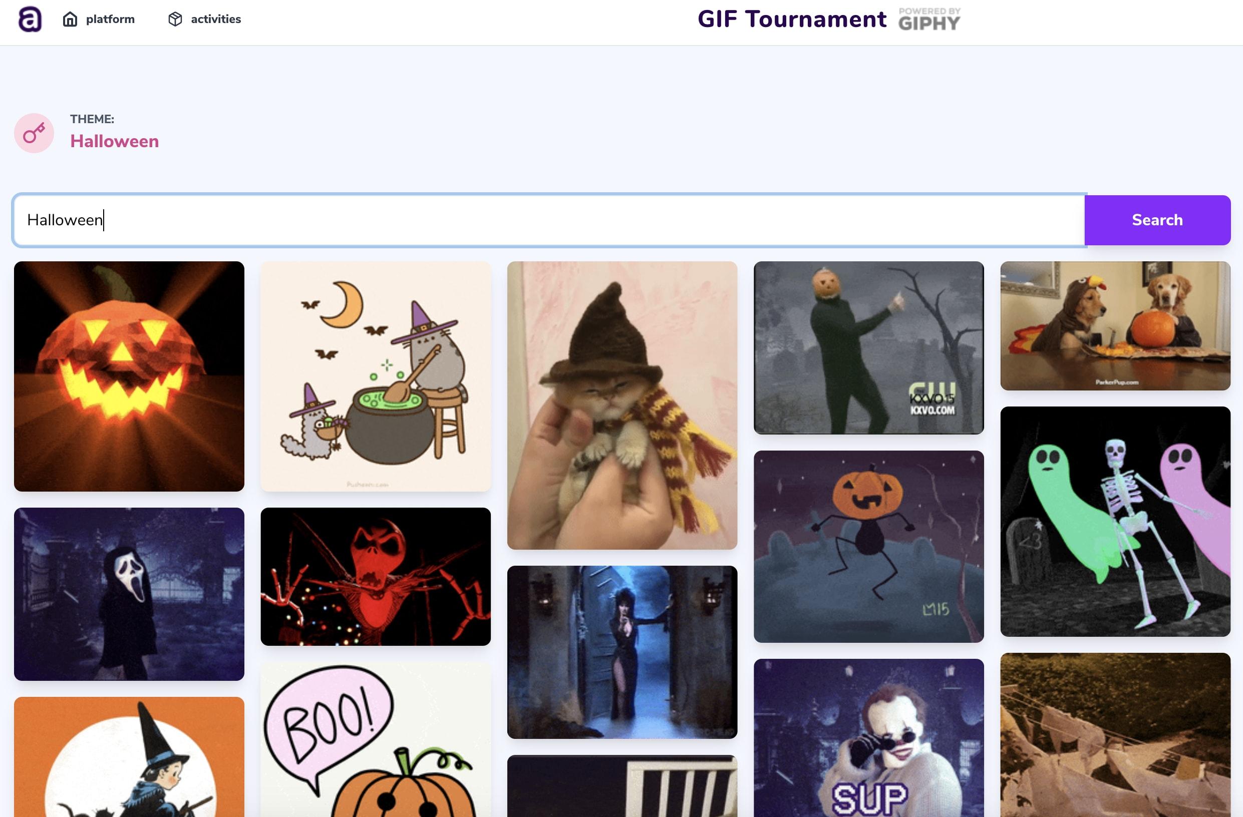 Play Atium's activities - Halloween style