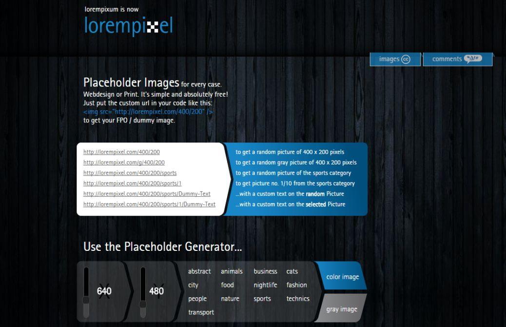LoremPixel – Free Image Generator