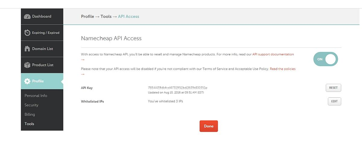 NameCheap API Access