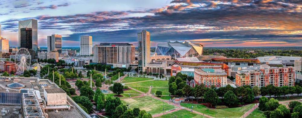 Aerial view of downtown Atlanta overlooking Centennial Olympic Park