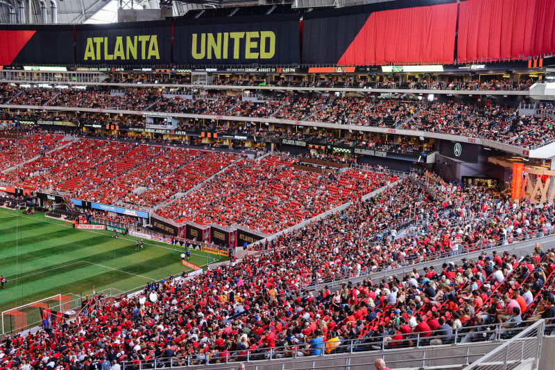 Atlanta United Soccer Game Crowd at Mercedes-Benz Stadium