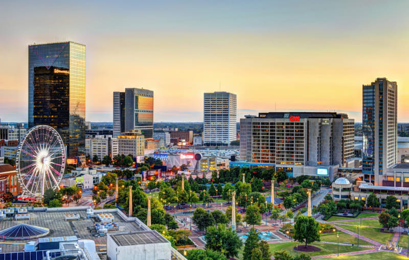 Atlanta-Downtown-Centennial-Olympic-Park-Skyline-Sunset