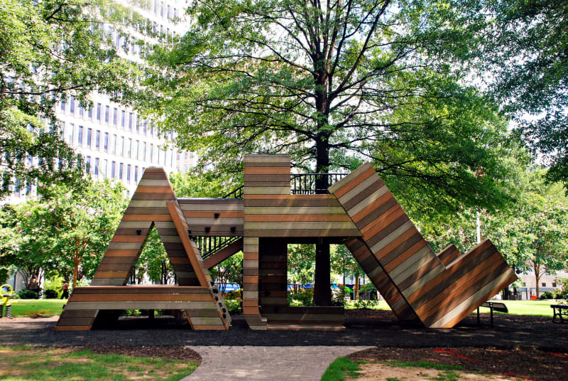 An ATL shaped playground for kids at Woodruff Park in Atlanta.