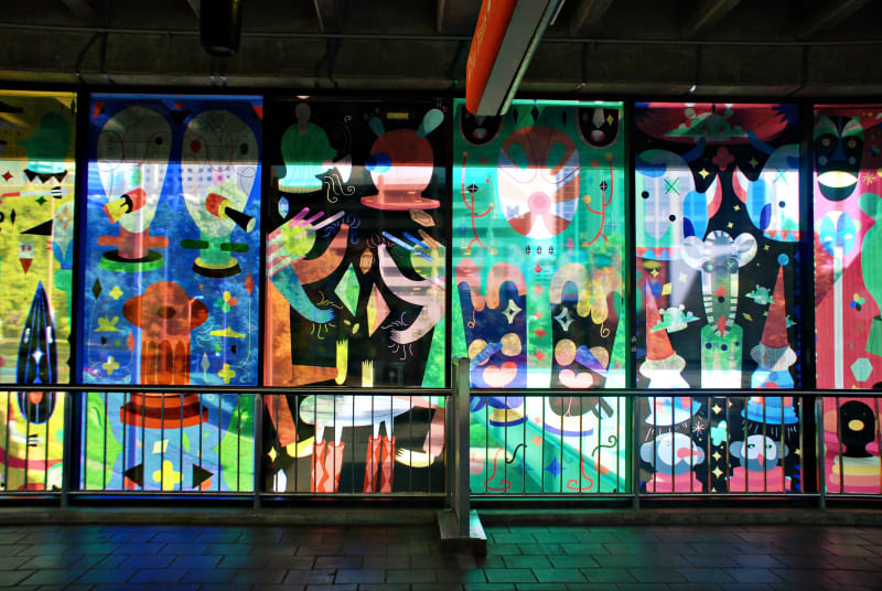 Colorful and artistic window display at MARTA Midtown Station.