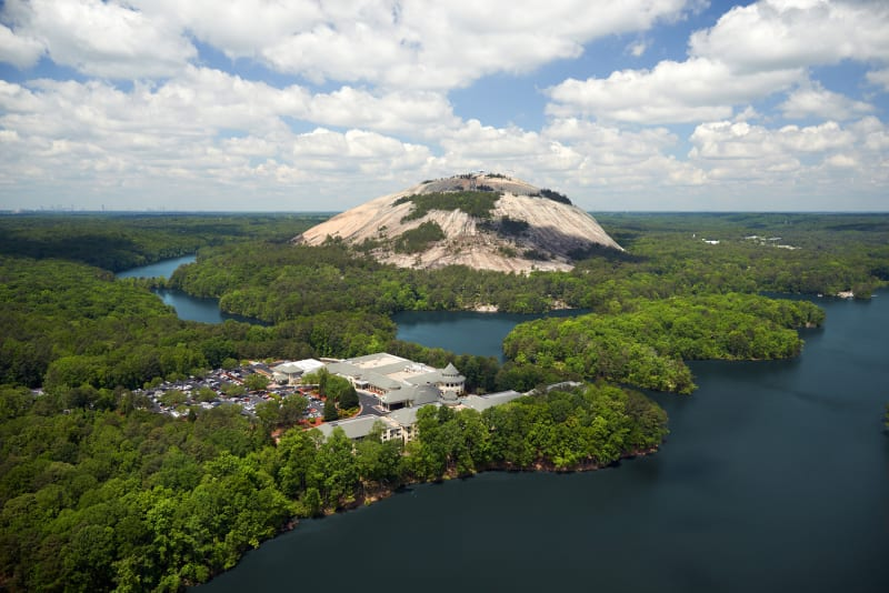 An aerial view of Stone Mountain Park.