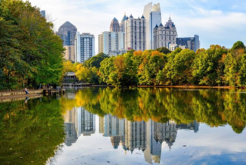 Lake Clara Meer in fall at Piedmont Park in Midtown Atlanta.