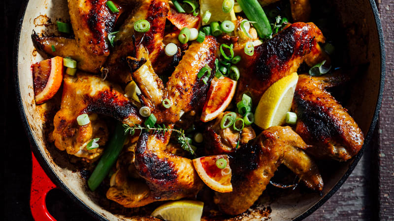 Skillet with Chicken Wings lemons and oranges by Todd Richards