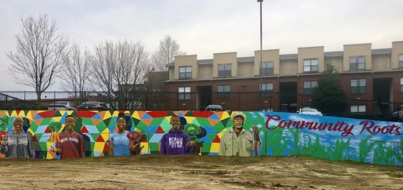 Colorful mural of AUC students from Clark Atlanta, Morehouse, Spelman and Morris Brown College
