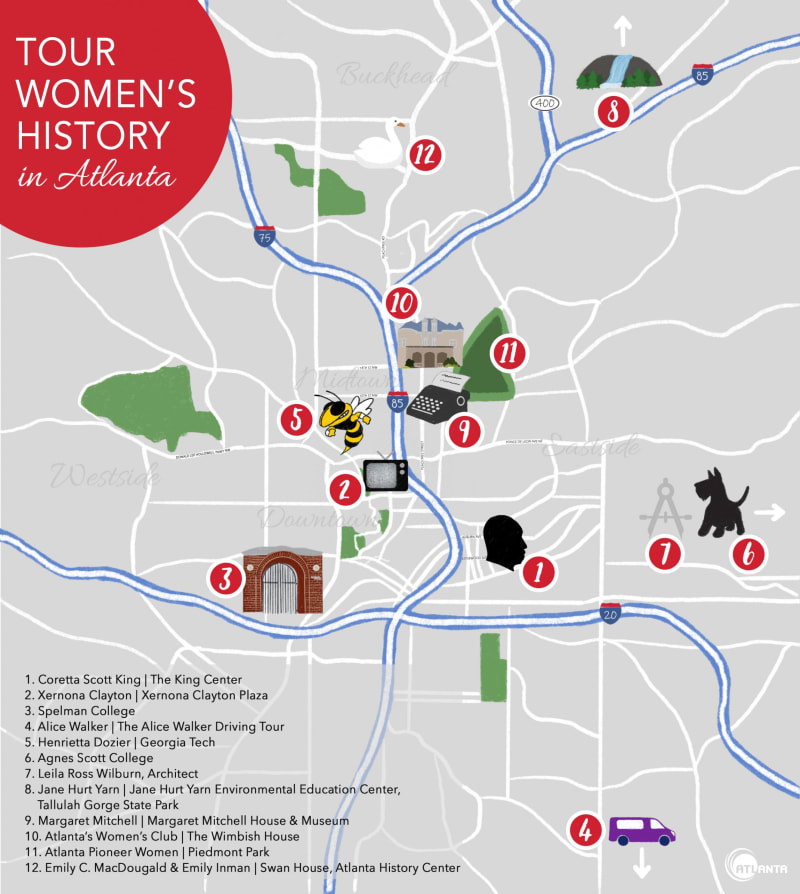 Illustrated map of locations throughout Atlanta honoring women's history and impact