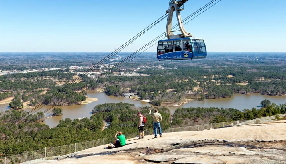 Visitors riding to the top of Stone Mountain