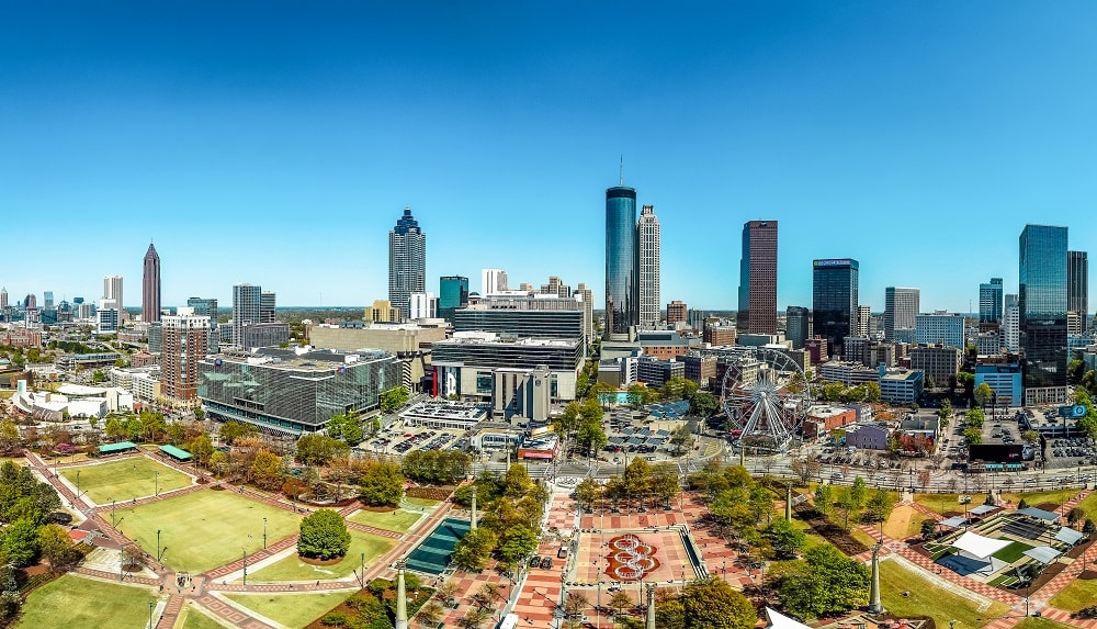 Panoramic view of Centennial Olympic Park and Pemberton Place