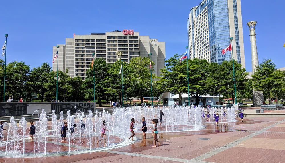 Kids playing in the Fountain of Rings at Centennial Olympic Park