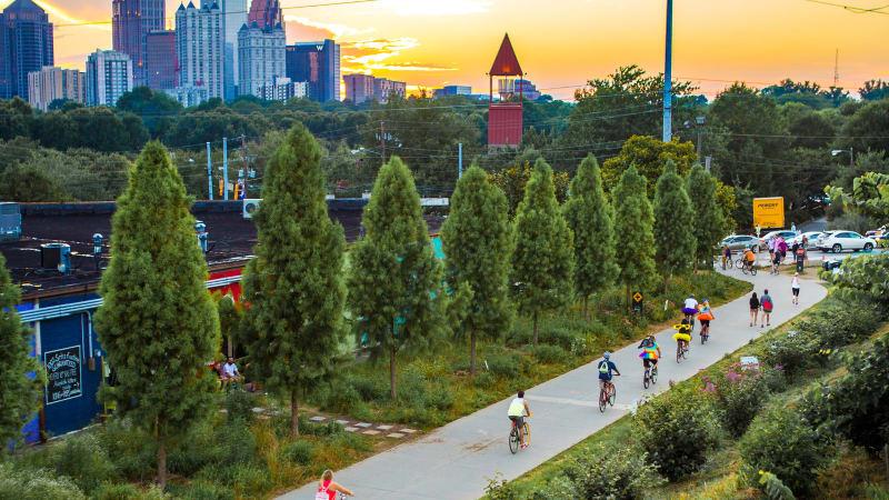 Atlanta Eastside BeltLine Aerial Midtown Skyline