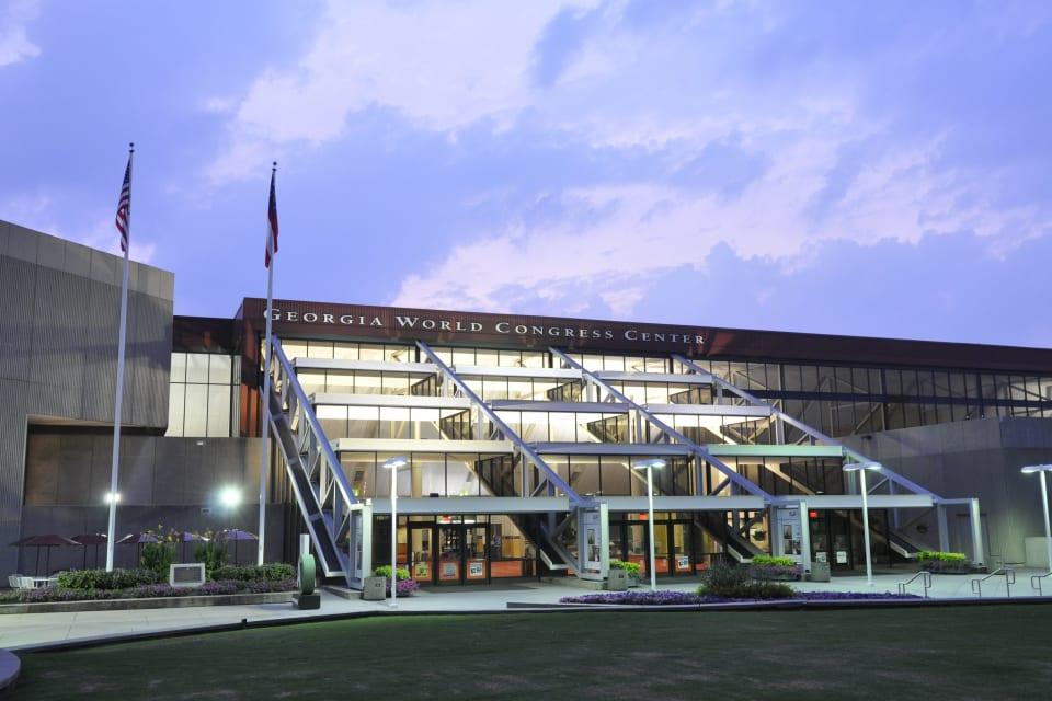 Exterior view of Georgia World Congress Center at dusk.