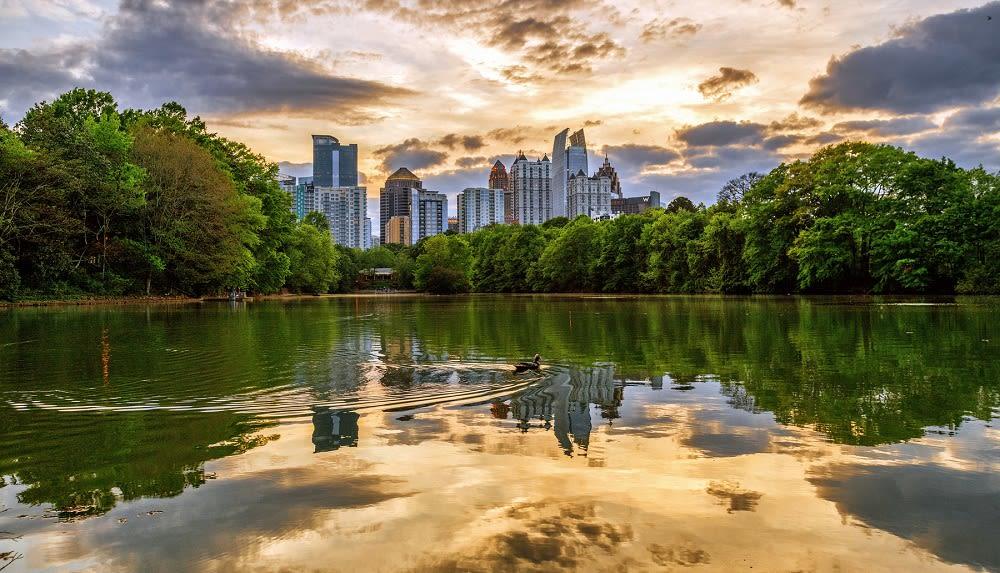 Atlanta Midtown Lake Clara Meer Skyline Piedmont Park