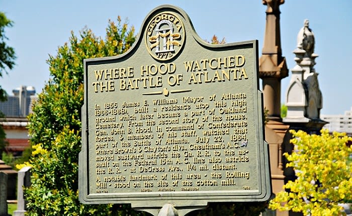History of Battle of Atlanta Sign at Oakland Cemetery in Atlanta GA