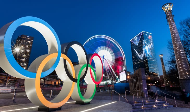 View of Olympic Rings in Centennial Olympic Park