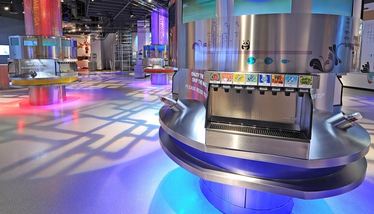 Taste it Sampling Area at the World of Coca-Cola, with more than 100 flavors available from all over the world.