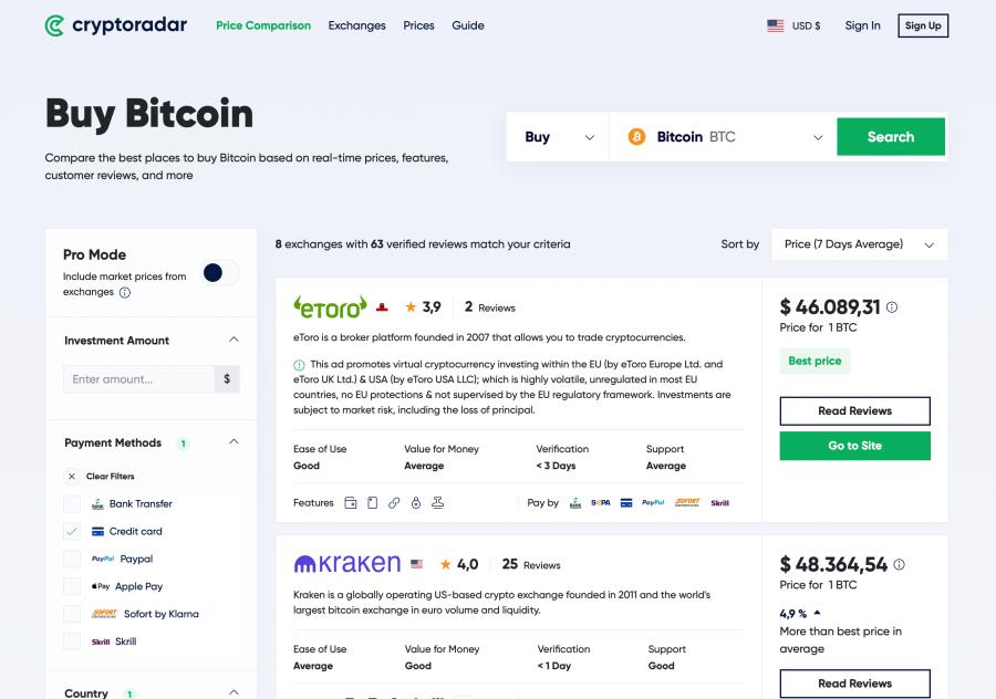 CryptoRadar Price Comparison tools