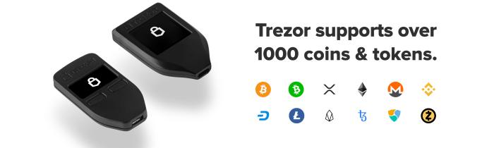 Trezor T crypto wallet 1000 coins