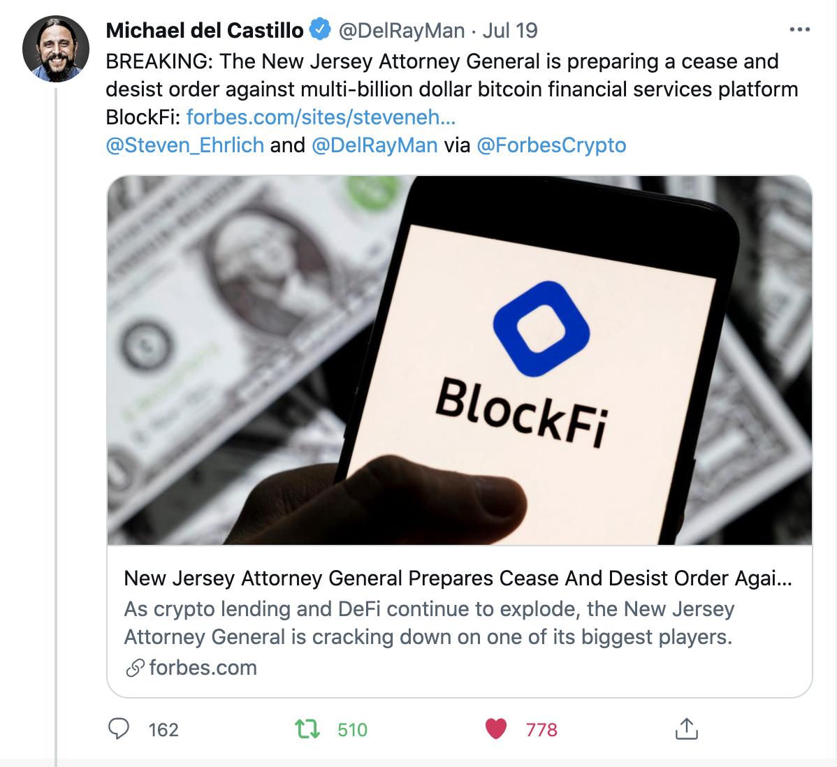 BlockFi getting cease and desist order in July 2021