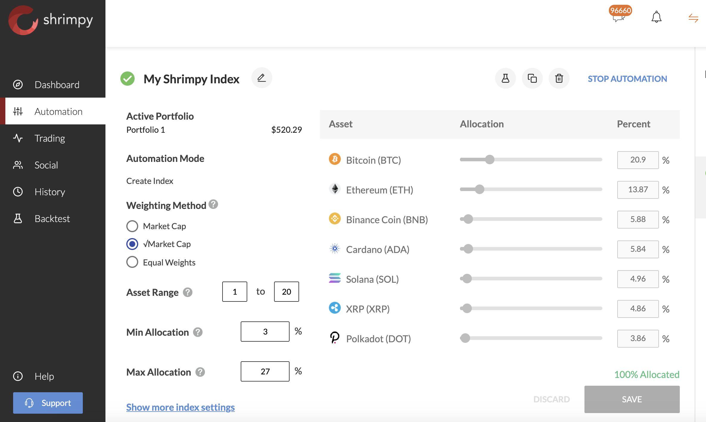 shrimpy portfolio rebalancing automated